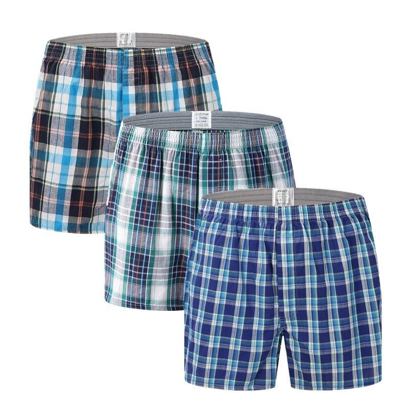 Mens Underwear Boxers Shorts Casual Cotton Sleep Men Underpants High Quality Brands Plaid Loose Homewear Male Panties 126