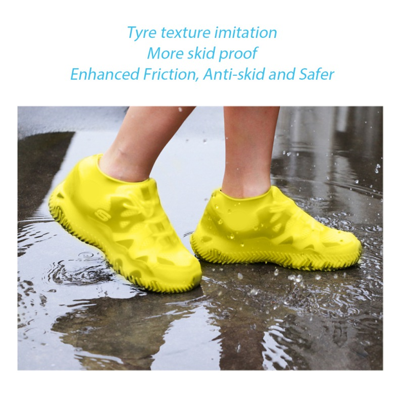 Reusable Waterproof Non-Slip Rubber Rain Shoe Covers, Elasticity Galoshes Boot Overshoes For Traveling