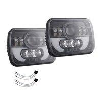 2PCS 5X7 7X6 Inch LED Headlight Headlamp Angel Eye,300W 30000Lm H4 Wiring Harness Headlamp Projector for Jeep Wrangler