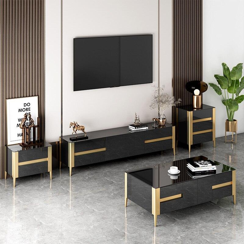 meuble tv de luxe combinaison de table a the petit salon familial nordique moderne simple noir et verre