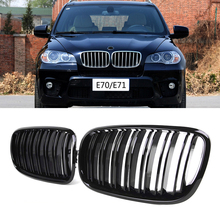 1 쌍 M 색상 전면 그릴 더블 슬랫 전면 신장 그릴 범퍼 그릴 BMW X5 E70 X6 E71 E72 2007 2013 자동차 액세서리