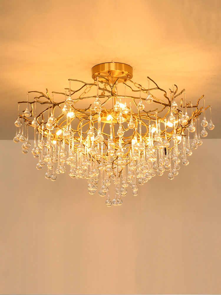 Light luxury copper crystal restaurant chandelier simple modern luxury living room lamp creative atmosphere villa bedroom tree