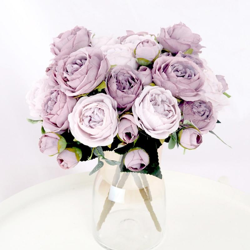 1 Bouquet 9 köpfe Künstliche Blumen Pfingstrose Tee Rose Herbst Seide Gefälschte Blumen für DIY Wohnzimmer Home Garten Hochzeit dekoration