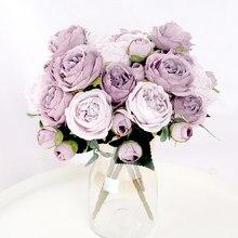 1 bukiet 9 głów sztuczne kwiaty piwonia herbata róża jesienne kwiaty ze sztucznego jedwabiu dla majsterkowiczów salon ogrodowa dekoracja ślubna