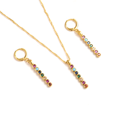Gold dubai cz  crystal multicolor stone Jewelry Sets Earrings Pendant necklace chain bridal Women Party wedding mother gifts multicolor crystal rhinestone peacock shape necklace earrings set for women wedding dubai bridal jewelry sets