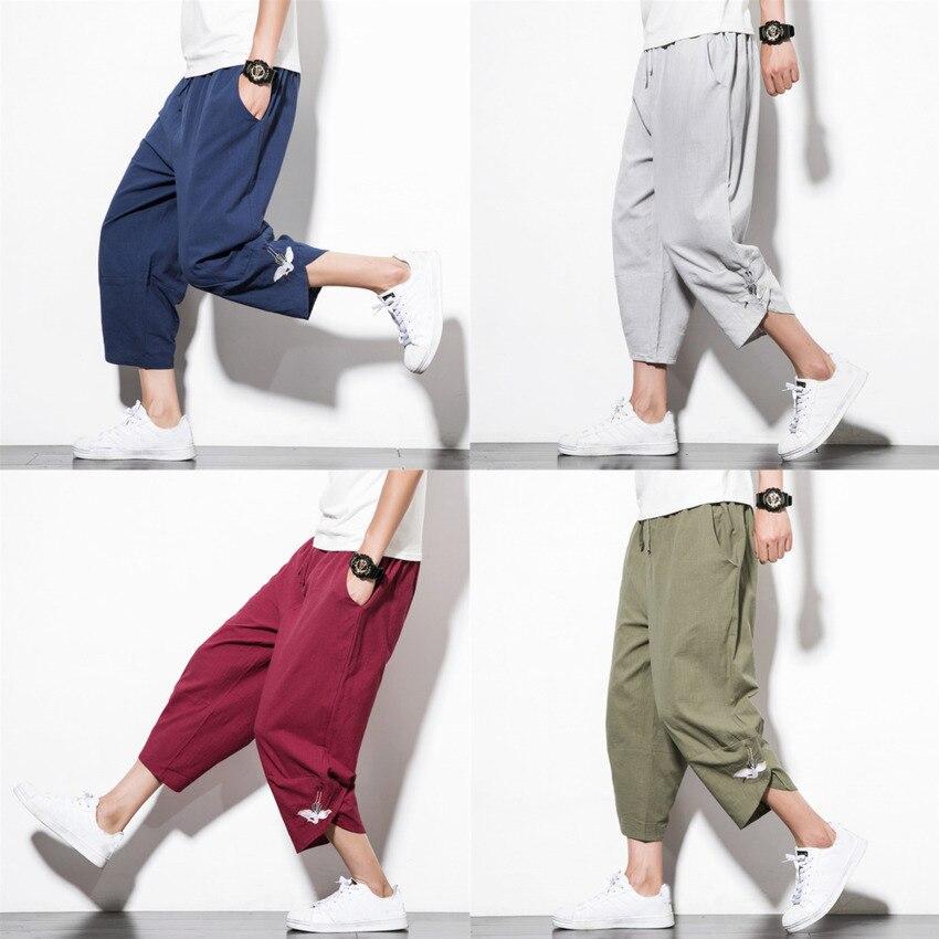 Japanese Style Harajuku Plus Size Men's Trousers Crane Samurai Costume Loose Japan Fashion Capris Women Bloom Pants Haori Asian