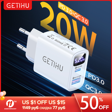 Зарядное устройство GETIHU PD QC 20 Вт с несколькими USB-портами для ЕС, устройство для быстрой зарядки телефона iPhone 12, 11, XS, X, XR, 6, 7, 8, Huawei, Samsung, Xiaomi, Mi, ...