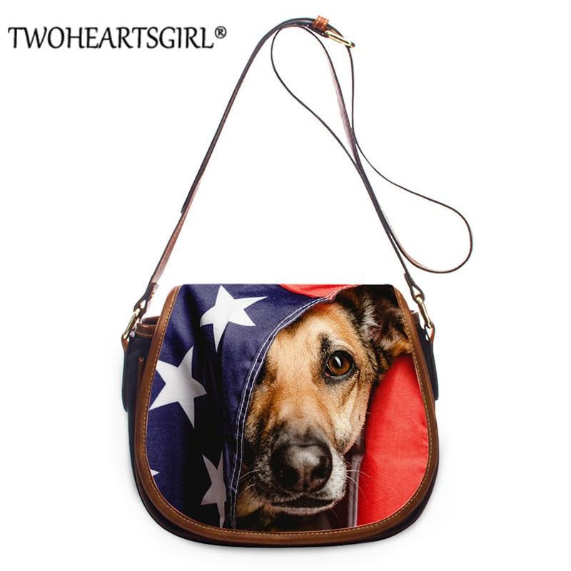 Twoheartsgirl Cute Animal Dog Design Messenger Bag Ladies Personalized Shoulder BagsAdjustable Shoulder Strap Bolsa Feminina