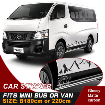 Car decals 3 pieces include left and right and back side body mountain stripe graphic Vinyl car sticker fit for mini bus or van