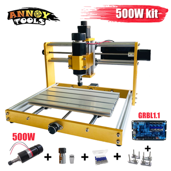 CNC 3018plus 500W/300W Complet Kit  Apply Nema17/23 Stepper  52mm Spindle CNC Wood Router,Pcb Milling Machine,Craved On Metal strong structure oxidation process surface cnc milling machine 500w 3040
