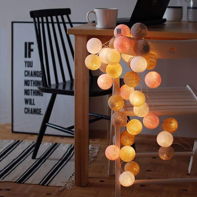 LED Garland Light String Cotton Balls Fairy Lights Novelty Lamp For Hanukkah Salon Patio Holiday Wedding Chirstmas Shopping Mall