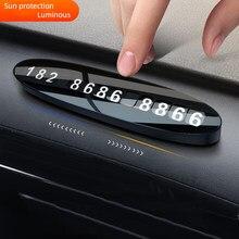 Numéro de téléphone de voiture carte de stationnement temporaire en métal, accessoires de voiture lumineux et caché, plaques d'arrêt de stationnement, plusieurs caractères