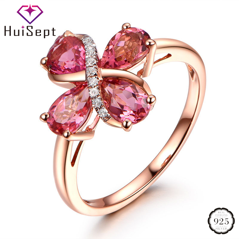 HuiSept Trendy Silver 925 Women Ring Jewelry Water Drop Shaped Ruby Zircon Gemstones Open Rings for Wedding Party Gift Wholesale