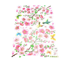Peach Blossom Flower Bird Removable Wall Sticker TV Sofa Wall Decor Art(China)