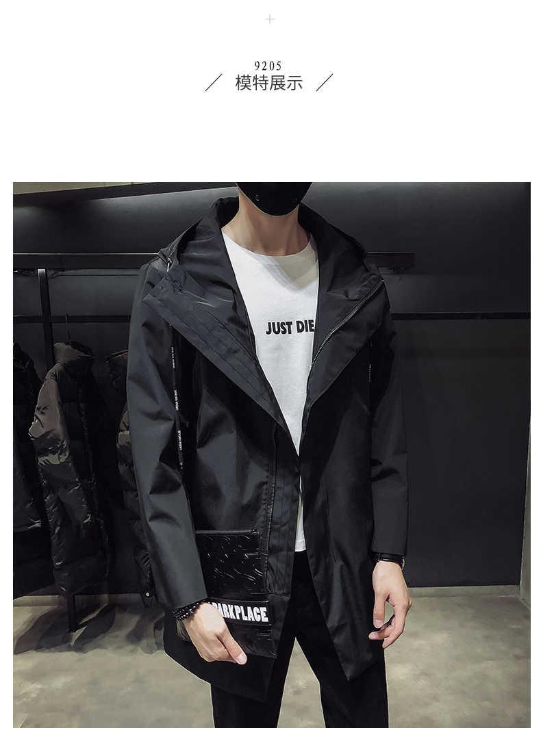 새로운 남성 블랙 트렌치 코트 후드 윈드 브레이커 코트 M-4XL 캐주얼 남성 의류 windproof outwear