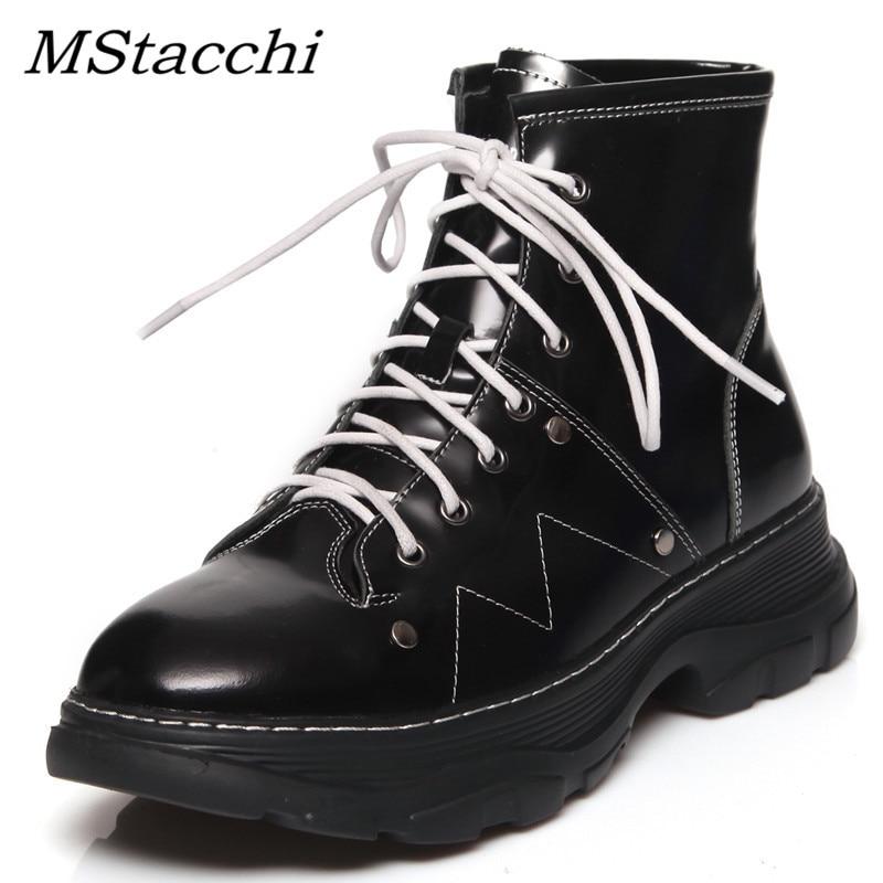MStacchi femmes epais bas bottines pour femmes miroir en cuir de vache chaussures femme plate-forme bout rond à lacets de haute qualité bottes