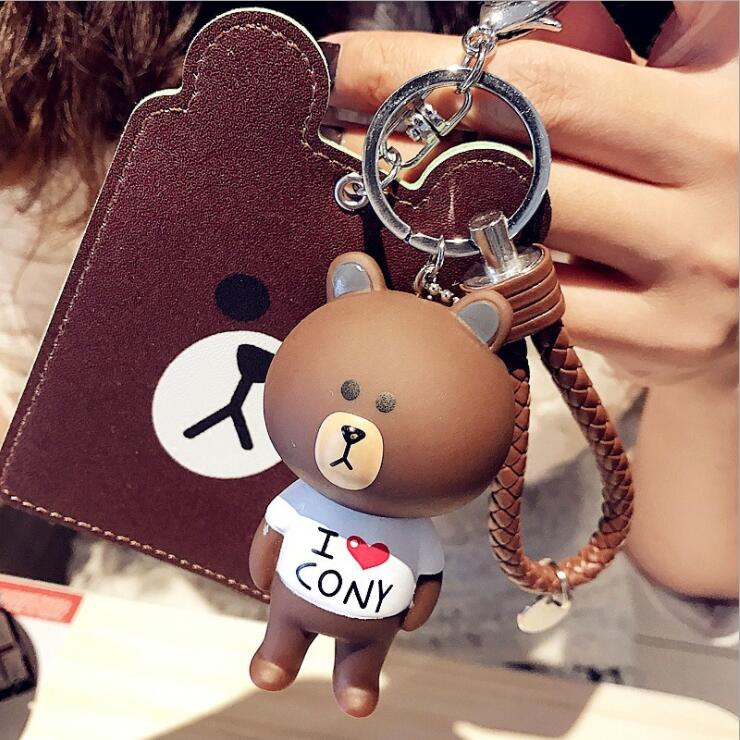 New Arrival Kawaii Totoro Bear PU ID Credit Bank Bus Card Holder With Doll Cute Card Protector Cover Case School Stationery