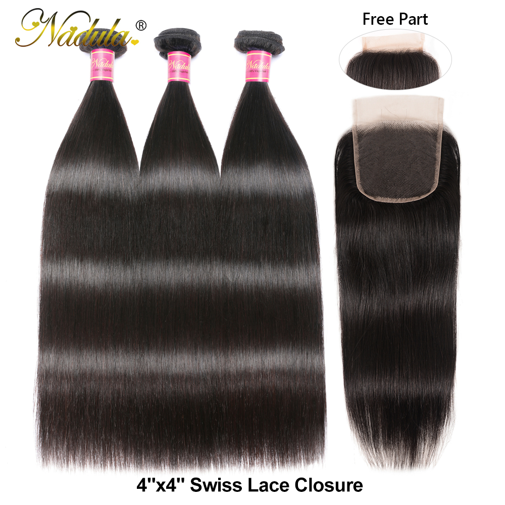 Nadula Hair 3 Bundles  Straight Hair With Closure 4*4 Lace Closure With  s Straight Bundles With Closure 2