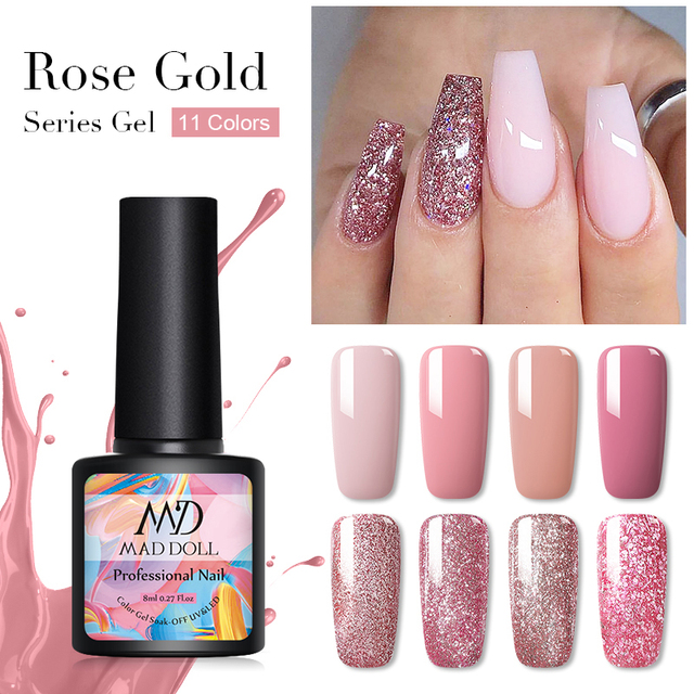1 Bottle MAD DOLL UV Gel Nail Polish Rose Gold Series Shiny Sequins Long Lasting Soak Off Nail Gel Varnish Nail Art DIY Design