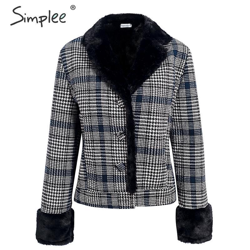 Image 4 - Simplee Faux fur patchwork plaid coat women Autumn winter buttons  furry female short jackets Chic streetwear ladies warm coatsFaux Fur