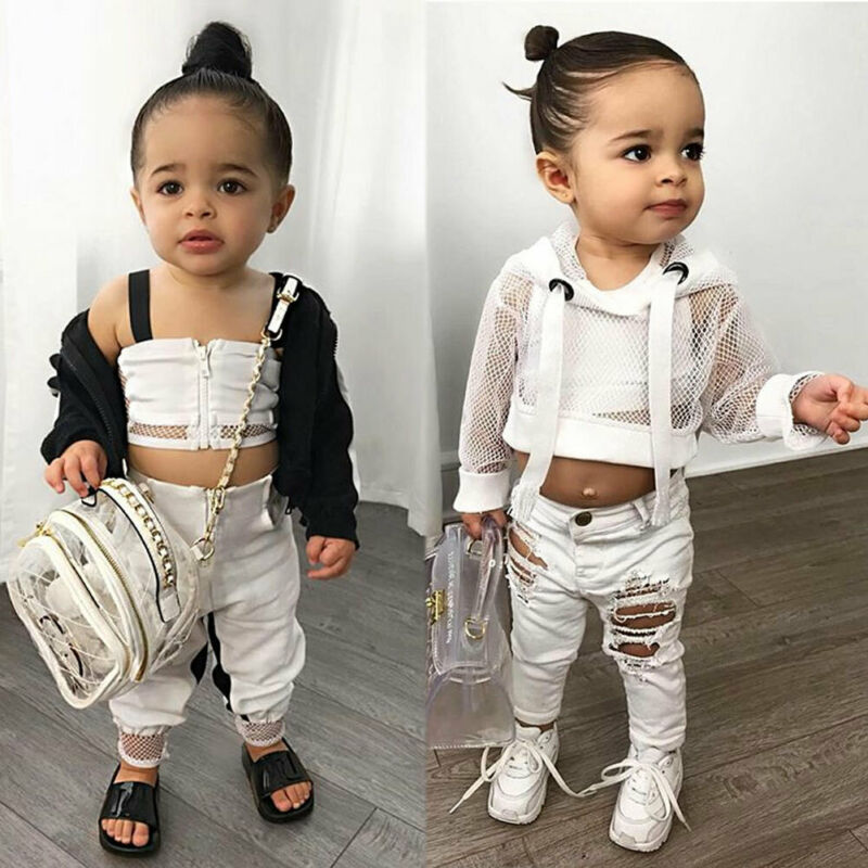 Newborn Baby Girl 12M-4T Kid Mesh Sling Tops Shorts Trousers Summer Clothes Set 1-4T