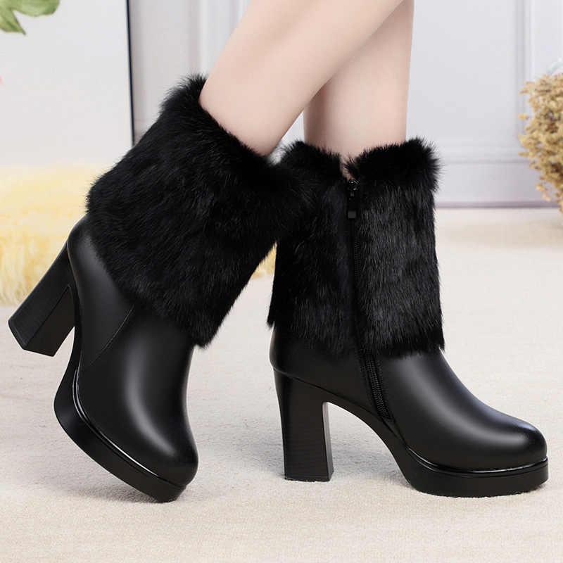 תנ צמר חם נשים שלג מגפי תחתית עבה עור אמיתי אופנה גבוהה העקב פרווה חם נעלי קטיפה נשים קרסול חורף מגפיים