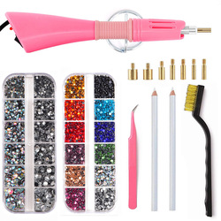 Aquecido rápido! Ue/eua plug branco hotfix strass aplicador rosa ferro-on quente fix strass aplicador varinha ferramenta de correção de calor y2852