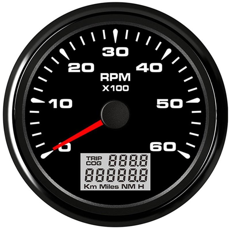 Digital 85mm Tachometer 6K RPM Vessel tacho Gauge Auto Rev Counter fit Car Marine Yacht Vehicle with 8 color Backlight|Tachometers| |  - title=