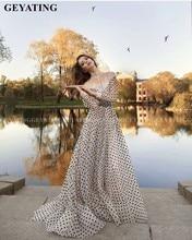 아랍어 블랙 화이트 폴카 도트 빈티지 레이스 공식 드레스 터키어 이슬람 이브닝 가운 긴 소매 높은 목 두바이 댄스 파티 드레스