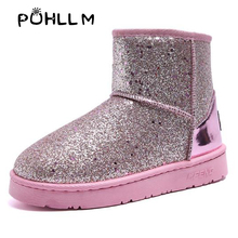 PUHLLM Snow boots female 2019 winter fashion new sequin cloth Korean version plus velvet womenshoes wild cotton shoes bootsF40