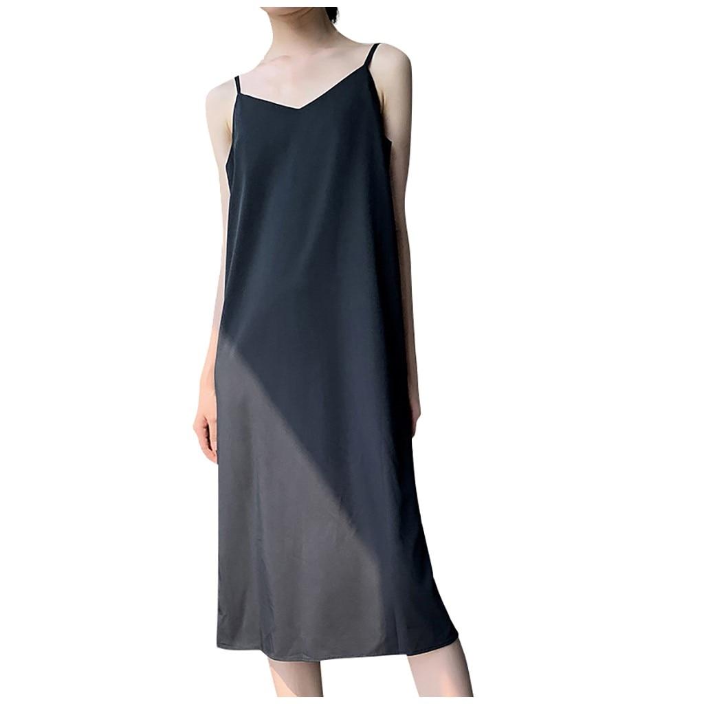 Sexy Summer Dress Women V neck Spaghetti Strap Sleeveless Boho Versatile Beach Long Dress Elegant Casual