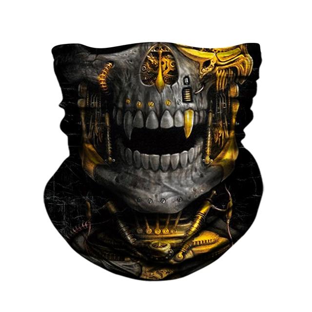 3D Skull Skeleton Balaclava Seamless Motorcycle Neck Face Shield Mask Scarf Bicycle Hunting Outdoor Anti-UV Bandana Headband