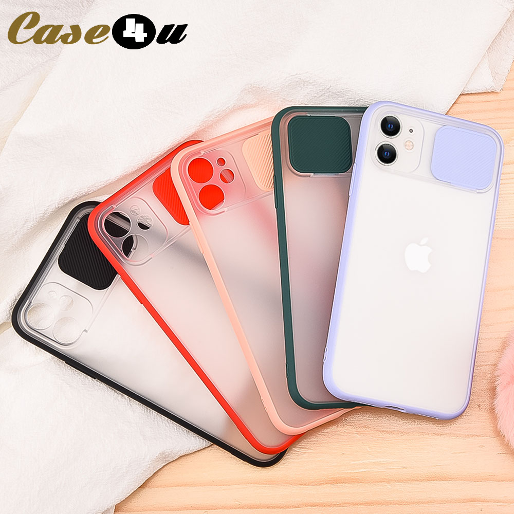 Shockproof Slide Camera Lens Protection Phone Case For iPhone 11 Pro XS Max X XR 8 7 6 6s Plus 8Plus Matte Silicone Cover Logo(China)