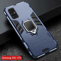 For Samsung Galaxy A51 A 51 Case Armor PC Cover Metal Ring Holder Phone Case For Samsung A71 A 71 Cover Shockproof Hard Bumper