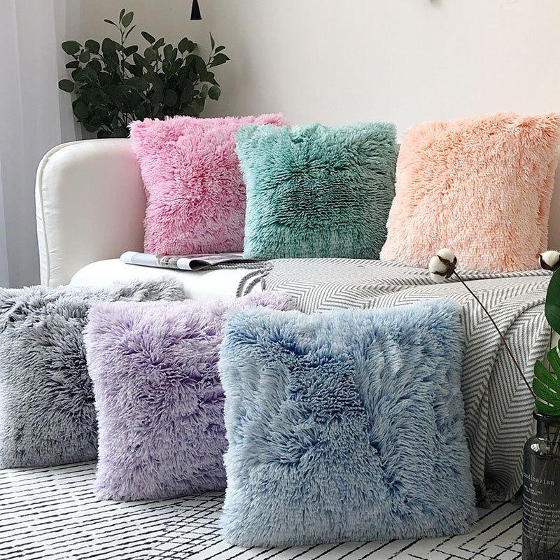 Simples e moderno estilo europeu sólido pelúcia fronha escritório casa sofá capa de almofada com decoração para casa fronha