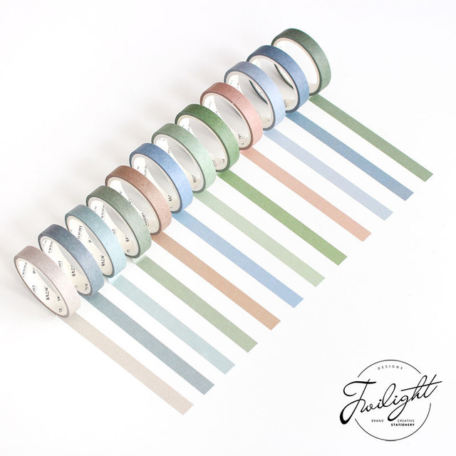 12 PCS washi tape rainbow kit cinta adesiva decorativa kpop color purple escolar stationery scrapbooking papeleria bonita 1