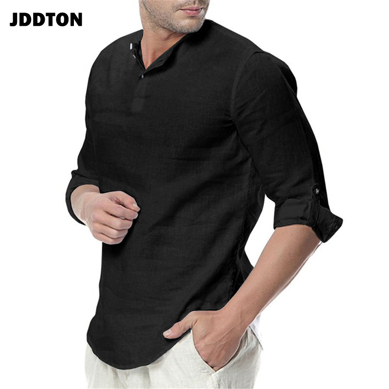 JDDTON New Men's Long Sleeve Shirts Cotton Linen Casual Breathable Comfort Shirt Fashion Style Solid Male Loose Streetwear JE065 4