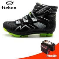 Tiebao ciclismo sapatos de inverno sapilha mtb à prova de vento quente auto bloqueio de alta tornozelo botas de corrida de mountain bike|Sapatos de ciclismo| |  -