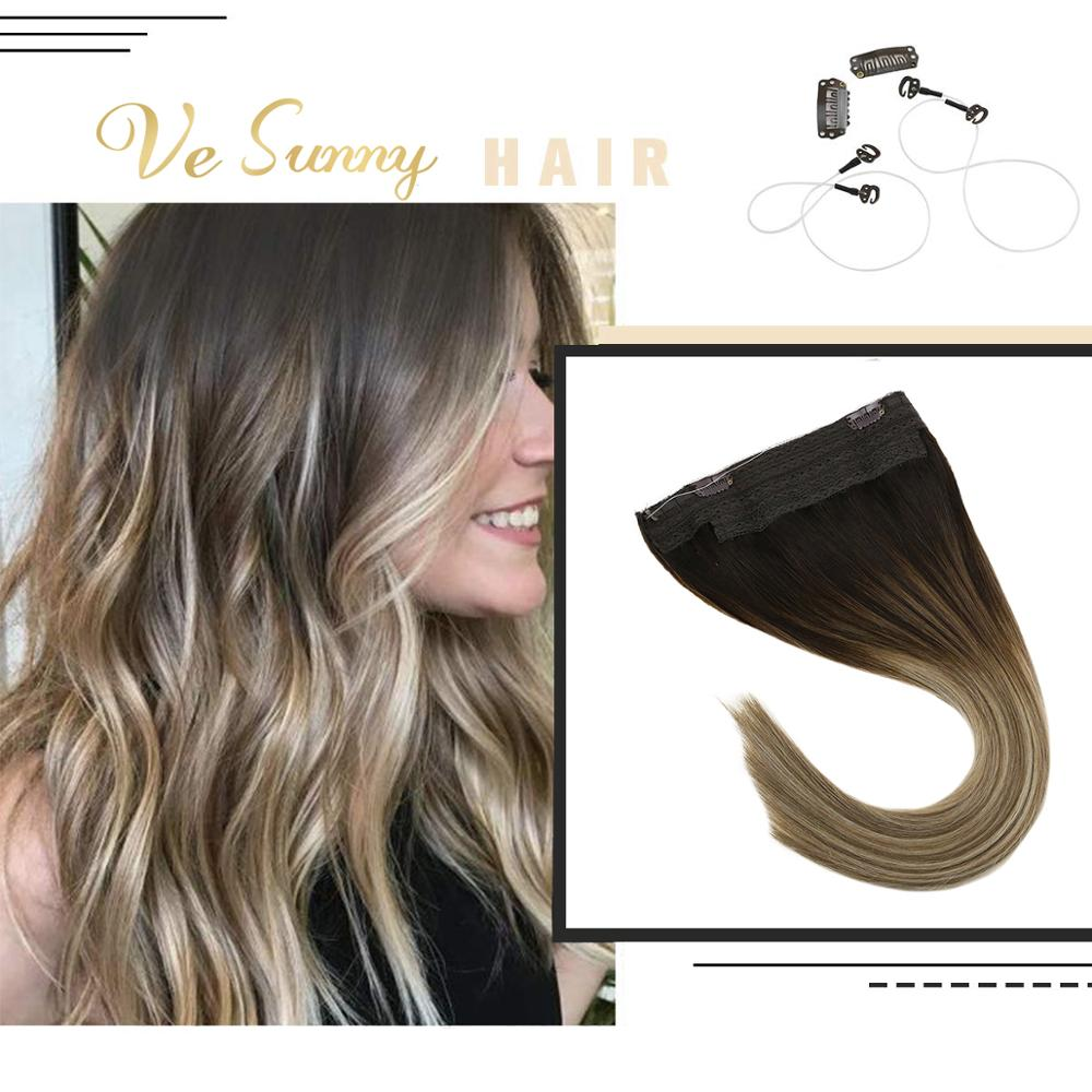 VeSunny Invisible Halo Human Hair Extensions Flip On Fishing Wire With Clips Balayage Ombre Brown Highlights Ash Blonde #3/8/18
