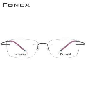 Image 4 - FONEX B Pure Titanium Rimless Optical Glasses Men Women Frameless Prescription Eyeglasses Frame Ultralight Myopia Eyewear 9203