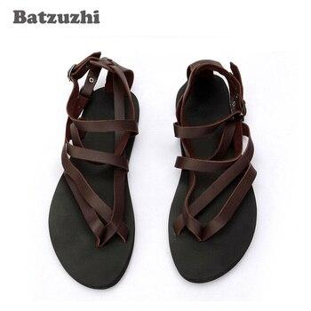 2020 Men Beach Genuine Leather Sandals Rome Men Shoes SUMMER Sandal Shoes Black&Brown Gladiator Sandalias Mujer, Big Size 46