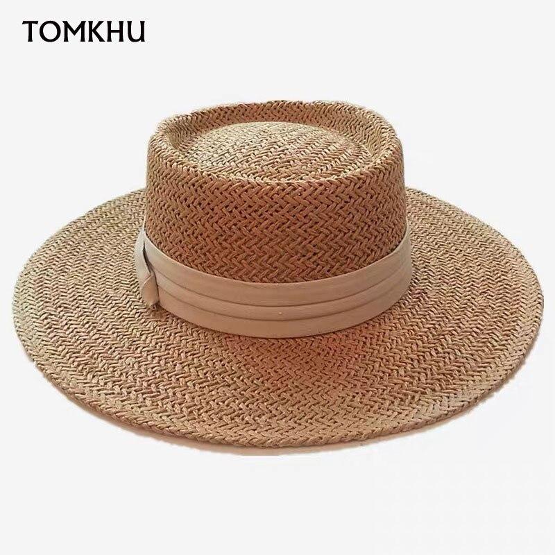 Шляпа соломенная Женская ручной работы, Повседневная пляжная Панама для отдыха, вогнутая плоская шляпа с козырьком от солнца, лето 2020