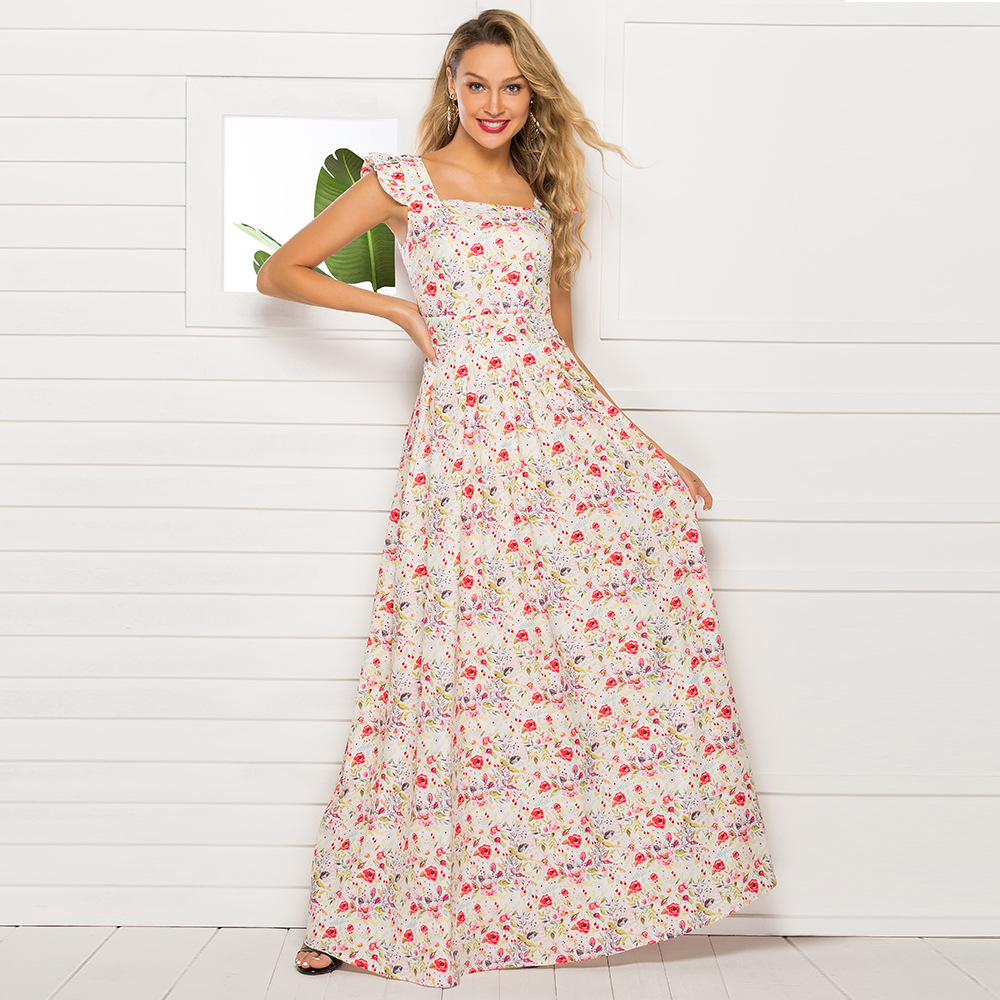 2019 Cross Border Summer Foreign Trade WOMEN'S <font><b>Dress</b></font> <font><b>AliExpress</b></font> Camisole Printed Square Collar <font><b>Dress</b></font> Party Evening Gown image