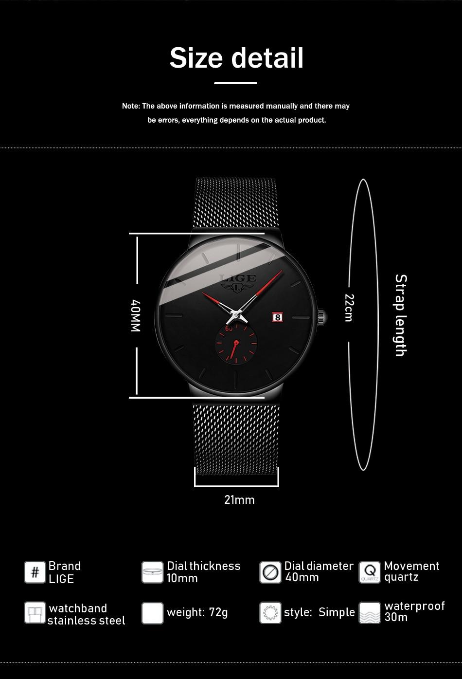H87a8ff7a6c62426b9a7050de30e20e3fh New LIGE Mens Watches Casual Fashion Gift Men Watch Business Waterproof Quartz Watch Full Steel Clock Relogio Masculino+Box