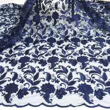 Mesh Lace Fabric Embroidered Navy-Blue French Nigerian Yellow High-Quality 5-Yards Dubai