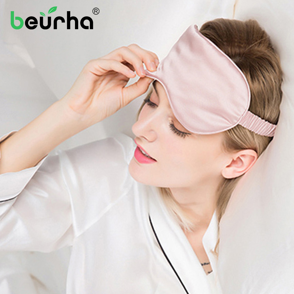 dropshipping 100% 3D Silk Sleep Mask Natural Sleeping Eye Mask Eyeshade Cover Shade Eye Patch Soft Portable Blindfold Travel 2