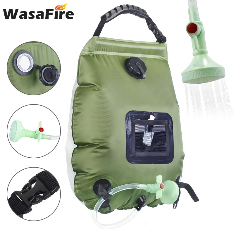 20L Outdoor Shower Bag Solar Energy Heated Water Bag Camping Hiking Bathing Portable Water Storage Bags with Hose Shower Head