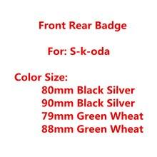 90mm 80mm voiture arrière coffre queue pare-chocs botte marque Badge autocollant autocollant avant tête capot emblème Logo voiture style accessoires pour Skoda