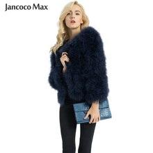 Casaco de pele feminino, casaco para mulheres da moda de inverno, jaqueta de pele do avestruz real, pena de peru, roupa exterior para senhora s1002