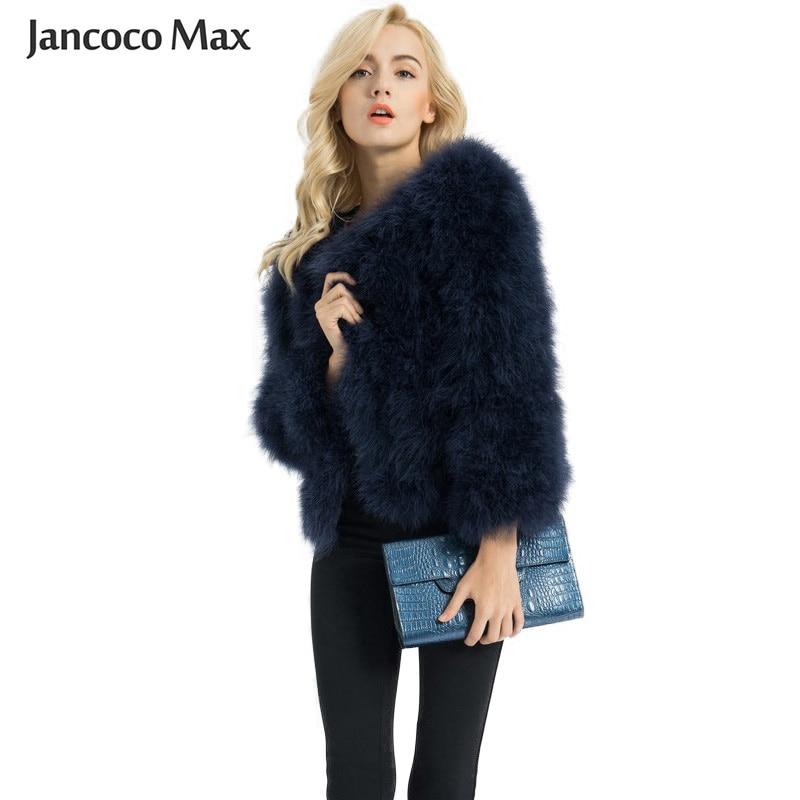 Женские модные меховые пальто, зимний настоящий Страус, меховые куртки из натурального индейки, меховая верхняя одежда, Женская S1002